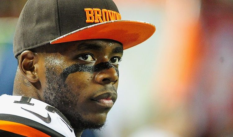 Josh Gordon #12 of the Cleveland Browns stands on the sidelines in the first half against the Atlanta Falcons at Georgia Dome on November 23, 2014 in Atlanta. (Photo by Scott Cunningham/Getty Images)