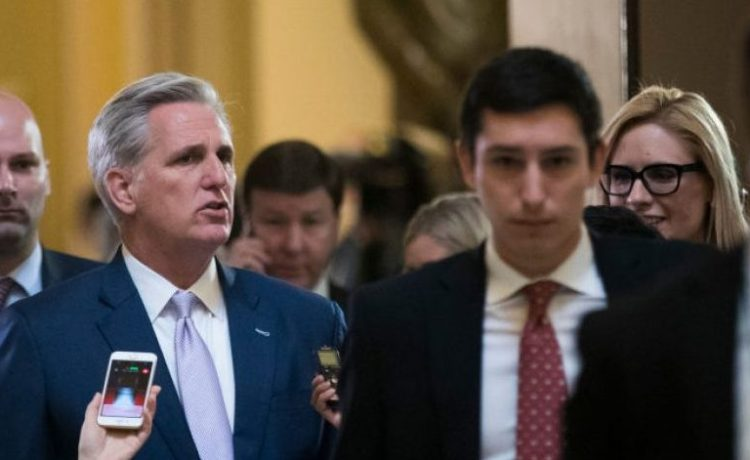 WASHINGTON, DC - MARCH 24: House Majority Leader Rep. Kevin McCarthy (R-CA) exits the House floor after a procedural vote relating to the American Health Care Act, on Capitol Hill, March 24, 2017 in Washington. House Republicans are planning for the final House vote on the American Health Care Act on Friday afternoon. (Photo by Drew Angerer/Getty Images)