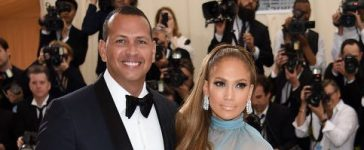 """Alex Rodriguez and Jennifer Lopez attend the """"Rei Kawakubo/Comme des Garcons: Art Of The In-Between"""" Costume Institute Gala at Metropolitan Museum of Art on May 1, 2017 in New York City. (Photo by Dimitrios Kambouris/Getty Images)"""