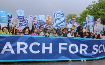 WASHINGTON, D.C. - APRIL 22 2017: Bill Nye leads a group of activists and protesters in a march to the United States capitol during the March for Science. (Joseph Gruber/Shutterstock)
