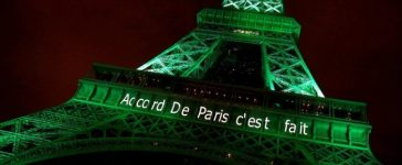 """FILE PHOTO: The Eiffel tower is illuminated in green with the words """"Paris Agreement is Done"""", to celebrate the Paris U.N. COP21 Climate Change agreement in Paris, France, November 4, 2016. REUTERS/Jacky"""