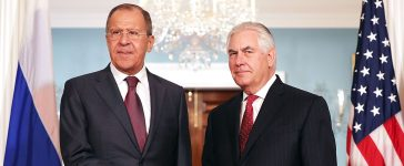 Russian Foreign Minister Sergey Lavrov (L) and U.S. Secretary of State Rex Tillerson shake hands in the Treaty Room before heading into meetings at the State Department May 10, 2017 in Washington, DC. Tillerson is hosting Lavrov to discuss Syria, Ukraine and other bilaterial issues, according to the State Department. (PHOTO: Chip Somodevilla/Getty Images)