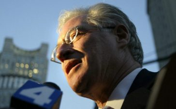 Defense attorney Marc Kasowitz speaks to reporters. Reuters/Keith Bedford