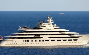 The Dilbar, the fourth longest yacht in the world, property of the Russian oligarch Alicher Ousmanov, is seen in Monaco April, 20, 2017. (Photo: Reuters)
