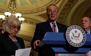 Senate Minority Leader Chuck Schumer speaks to the media about plans to repeal and replace Obamacare on Capitol Hill in Washington, U.S., June 27, 2017. REUTERS/Aaron P. Bernstein