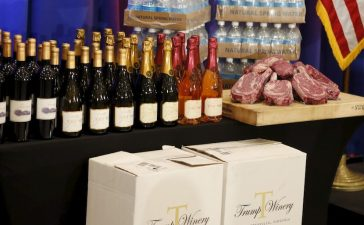 Steaks and chops described as 'Trump meat' are shown near the podium with Trump branded wines and water before U.S. Republican presidential candidate Donald Trump was scheduled to appear at a press event at his Trump National Golf Club in Jupiter, Florida, March 8, 2016. REUTERS/Joe Skipper