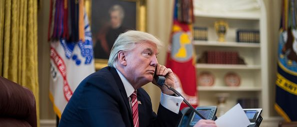 WASHINGTON, DC - JUNE 27: President Donald Trump talks with new Irish Prime Minister Leo Varadkar during a telephone call in the Oval Office of the White House of the White House in Washington, DC on Tuesday, June 27, 2017. (Photo by Jabin Botsford/The Washington Post via Getty Images)