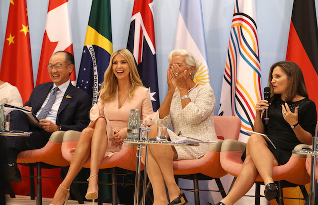 HAMBURG, GERMANY - JULY 08: World Bank president Jim Yong Kim, Daughter and advisor to US President Trump, Ivanka Trump and Managing Director of the International Monetary Fund (IMF), Christine Lagarde during the G20 summit on July 8, 2017 in Hamburg, Germany. Leaders of the G20 group of nations are meeting for the July 7-8 summit. Topics high on the agenda for the summit include climate policy and development programs for African economies. (Photo by Matt Cardy/Getty Images)