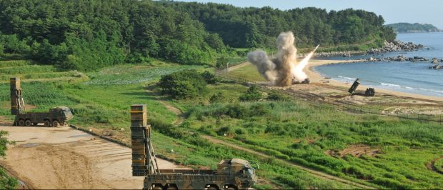 United States and South Korean troops utilizing the Army Tactical Missile System (ATACMS) and the South Korea's Hyunmoo Missile II, fire missiles into the waters of the East Sea, off South Korea, July 5, 2017. 8th United States Army/Handout via REUTERS