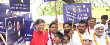 Indian villagers cheering new Trump name, (Youtube screenshot/Ruptly TV)