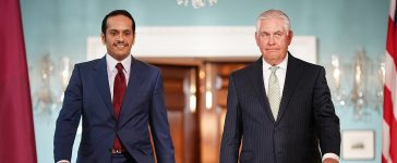U.S. Secretary of State Rex Tillerson (R) escorts Qatari Foreign Minister Sheikh Mohammed Bin Abdulrahman Al Thani (L) prior to a scheduled meeting at the State Department June 27, 2017 in Washington, DC. Tillerson and Bin Abdulrahman Al Thani were expected to discuss a range of bilateral issues during their meeting. (Photo by Win McNamee/Getty Images)