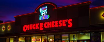 Shutterstock/ Guam - November 11, 2016: Chuck E Cheese's in Guam on November 11, 2016. Chuck E Cheese's is a popular entertainment restaurant.Chuck E Cheese's serves meals such as pizza and sandwiches.