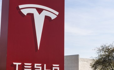 Indianapolis - Circa April 2017: Tesla Service Center. Tesla designs and manufactures the Model S electric sedan IV (Jonathan Weiss / Shutterstock.com)