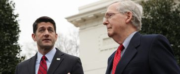 Speaker of the House Rep. Paul Ryan (R-WI) (L) and Senate Majority Leader Sen. Mitch McConnell (R-KY) (R) speak to members of the media in front of the West Wing of the White House February 27, 2017 in Washington, D.C. (Photo by Alex Wong/Getty Images)