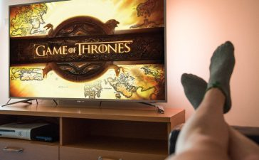 Ljubljana, Slovenia- JUN 17, 2017: Watching Game of Thrones, a famous American fantasy drama television series created for HBO, in a livingroom. (Shutterstock/Katja El Sol)