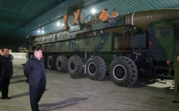 North Korean leader Kim Jong Un inspects the intercontinental ballistic missile Hwasong-14. KCNA/via REUTERS