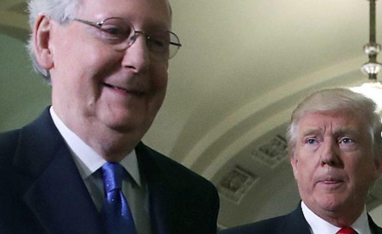 WASHINGTON, DC - NOVEMBER 10: Senate Majority Leader Mitch McConnell (L), walks with President-elect Donald Trump at the U.S. Capitol for a meeting November 10, 2016 in Washington, DC. Earlier in the day president-elect Trump met with U.S. President Barack Obama at the White House. (Photo by Mark Wilson/Getty Images)