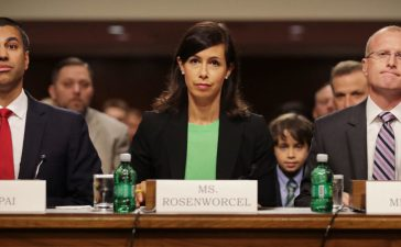 WASHINGTON, DC - JULY 19: (L-R) Federal Communications Commission Chairman Ajit Pai and nominees Jessica Rosenworcel and Brendan Carr prepare to testify before the Senate Commerce, Science and Transportation Committee during their confirmation hearing in the Dirksen Senate Office Building on Capitol Hill July 19, 2017 in Washington, DC. Pai has served as the FCC chairman since January of 2017 and is due for re-appointment. (Photo by Chip Somodevilla/Getty Images)