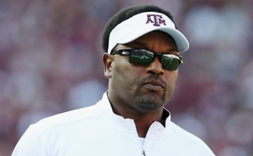 Head coach Kevin Sumlin of the Texas A&M Aggies walks across the field before the start of their game against the Ball State Cardinals at Kyle Field on September 12, 2015 in College Station, Texas. (Photo by Scott Halleran/Getty Images)