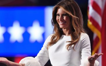 Republican presidential candidate Donald Trump's wife Melania arrives on stage during the evening session of the Republican National Convention at the Quicken Loans arena in Cleveland, Ohio on July 18, 2016. The Republican Party opened its national convention Monday, kicking off a four-day political jamboree that will anoint billionaire Donald Trump as the Republican presidential nominee. / AFP / DOMINICK REUTER (Photo credit should read DOMINICK REUTER/AFP/Getty Images)