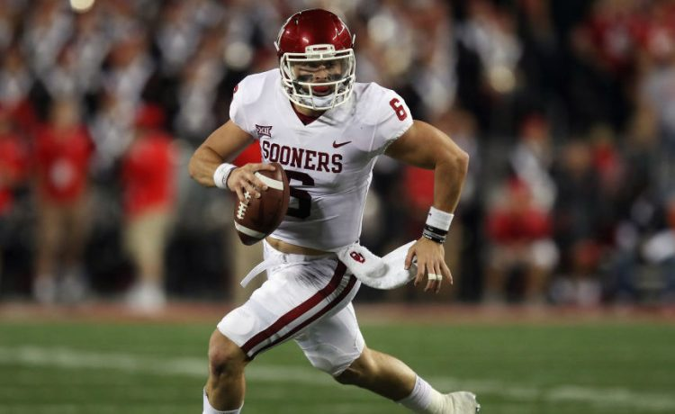 Baker Mayfield #6 of the Oklahoma Sooners runs with the ball during the first half against the Ohio State Buckeyes at Ohio Stadium on September 9, 2017 in Columbus, Ohio. (Photo by Gregory Shamus/Getty Images)