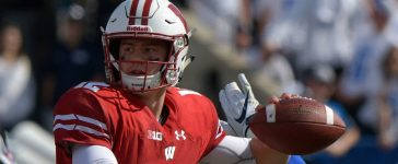 PROVO, UT - SEPTEMBER 16: Quarterback Alex Hornibrook #12 of the Wisconsin Badgers looks to pass the ball in the second half of their 40-6 win over the Brigham Young Cougars at LaVell Edwards Stadium on September 16, 2017 in Provo, Utah. (Photo by Gene Sweeney Jr/Getty Images)