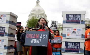 Rosa Martinez, an immigration activists and DACA recipient, takes part in a rally about the importance of passing a clean DREAM Act before delivering a million signatures to Congress on Capitol Hill in Washington, U.S., September 12, 2017. REUTERS/Joshua Roberts