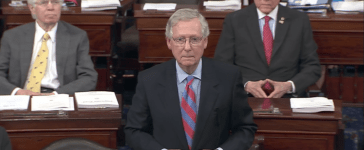Senate Majority Leader Mitch McConnell speaks on the Senate floor in July 2017. (YouTube screenshot/PBS NewsHour)