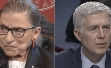 Justice Ruth Bader Ginsburg (L) and Justice Neil Gorsuch (R) (Screenshots/YouTube)