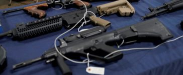 Fully automatic machine guns are displayed for sale at the Guntoberfest gun show in Oaks, Pennsylvania, U.S., October 6, 2017. REUTERS/Joshua Roberts