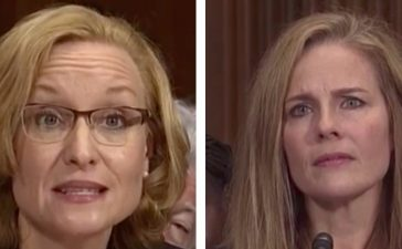 L: Michigan Supreme Court Justice Joan Larsen. R: Notre Dame Law School Professor Amy Coney Barrett. (Screenshots)