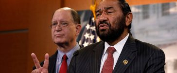Rep. Al Green (D-TX), accompanied by Rep. Brad Sherman (D-CA), speaks with the media about his plans to draft articles of impeachment against President Donald Trump on Capitol Hill in Washington, D.C., U.S., June 7, 2017. REUTERS/Aaron P. Bernstein