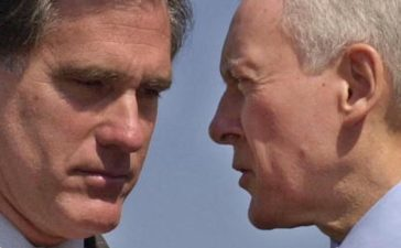 WASHINGTON, UNITED STATES: Salt Lake City Olympic Committee President Mitt Romney (L) listens to Sen. Orrin Hatch, R-UT, prior to a news conference, 03 October 2001 on Capitol Hill in Washington, DC. The Utah Olympic delegation has been meeting with law enforcement officials of the FBI and Department of Justice to review security measures for the 2002 Winter Olympics in the wake of the 11 September terrorist attacks on the World Trade Center and the Pentagon. AFP PHOTO/Mike THEILER (Photo credit should read MIKE THEILER/AFP/Getty Images)