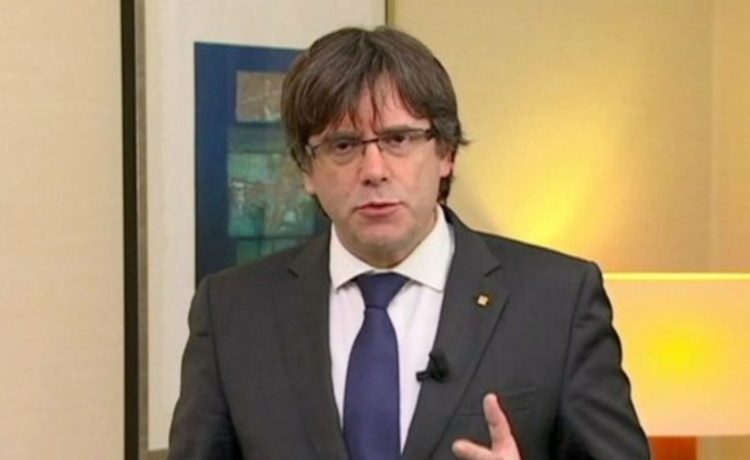 """Sacked Catalan President Carles Puigdemont makes a statement in this still image from video calling for the release of """"the legitimate government of Catalonia"""", after a Spanish judge ordered nine Catalan secessionist leaders to be held in custody pending a potential trial over the region's independence push, in Brussels, Belgium, November 2, 2017. TV3 via REUTERS TV"""