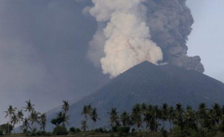 A view of Mount Agung volcano erupting from Culik village in Karangasem, Bali