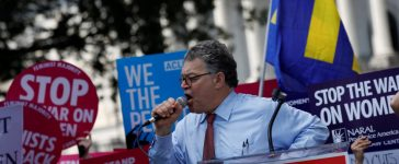 Sen. Al Franken (D-MN) speaks during a demonstration against the Republican repeal of the Affordable Care Act, outside the U.S. Capitol in Washington, U.S., June 21, 2017. REUTERS/Aaron P. Bernstein