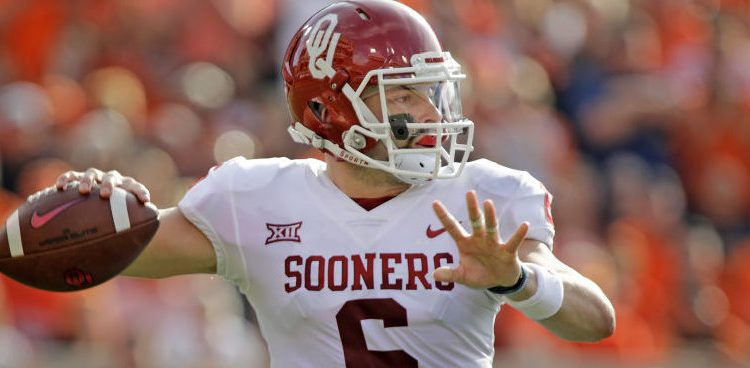 Baker Mayfield of the Oklahoma Sooners looks to throw against the Oklahoma State Cowboys at Boone Pickens Stadium on November 4, 2017 in Stillwater, Oklahoma. (Photo by Brett Deering/Getty Images)