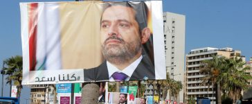 Posters depicting Lebanon's Prime Minister Saad al-Hariri, who has resigned from his post, are seen in Beirut, Lebanon, November 10, 2017. REUTERS/Mohamed Azakir