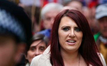 Jayda Fransen, acting leader of the far-right organisation Britain First marches in central London on April 1, 2017. (Photo: DANIEL LEAL-OLIVAS/AFP/Getty Images)