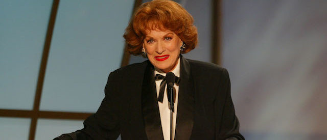 LOS ANGELES - MARCH 9: Actress Maureen O'Hara presents the award for Best Male Actor in a Television Movie or Miniseries during the 9th Annual Screen Actors Guild Awards at the Shrine Auditorium on March 9, 2003 in Los Angeles, California. (Photo by Kevin Winter/Getty Images)