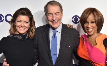 Norah O'Donnell, Charlie Rose and Gayle King attend the 2017 CBS Upfront on May 17, 2017 in New York City. (Photo by Theo Wargo/Getty Images)