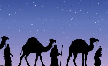 The Three Wise Men following Jesus' star. (shutterstock/ ArtMari)