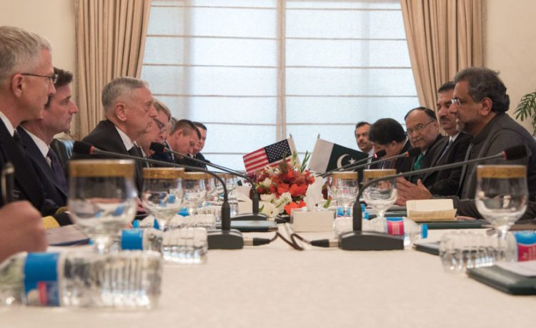 Defense Secretary James N. Mattis meets with Pakistan's Prime Minister Shahid Khaqan Abbasi during a visit to Islamabad, Pakistan on Dec. 4, 2017. Mattis is traveling to Egypt, Jordan, Pakistan and Kuwait to re-affirm the enduring U.S. commitment to partnerships in the Middle East, West Africa and South Asia. (DoD photo by Army Sgt. Amber I. Smith)