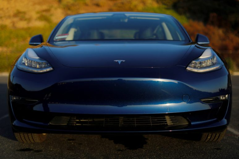 A 2018 Tesla Model 3 electric vehicle is shown in Cardiff, California,