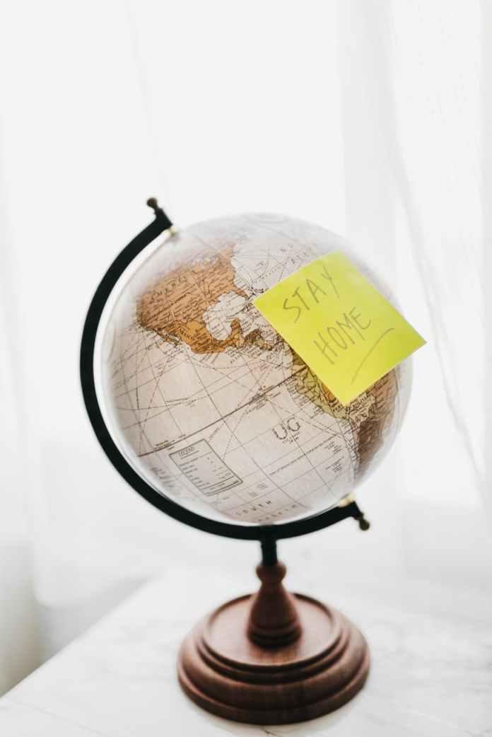 black and brown desk globe