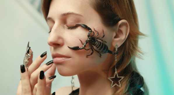photo of scorpion on woman s face