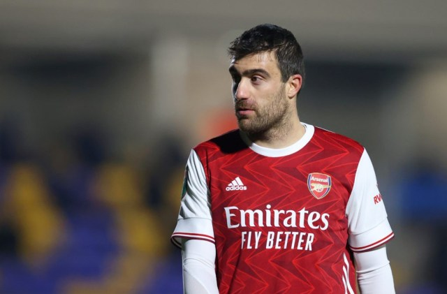 WIMBLEDON, ENGLAND: Sokratis Papastathopoulos of Arsenal FC looks on during the Papa John's Trophy Second Round match between AFC Wimbledon and Arsenal U21 at Plough Lane on December 08, 2020. (Photo by James Chance/Getty Images)