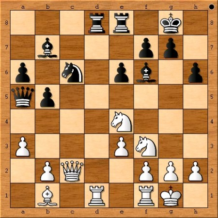The position after Viswanathan Anand plays 19. Ne4.
