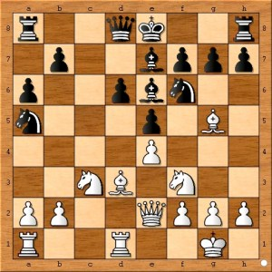 Black really should have castled here. Developing the queenside bishop could have waited a move or two.