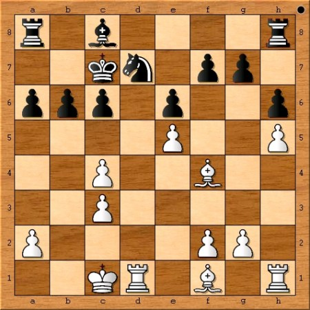 The position after Magnus Carlsen castles queen-side on move 15.